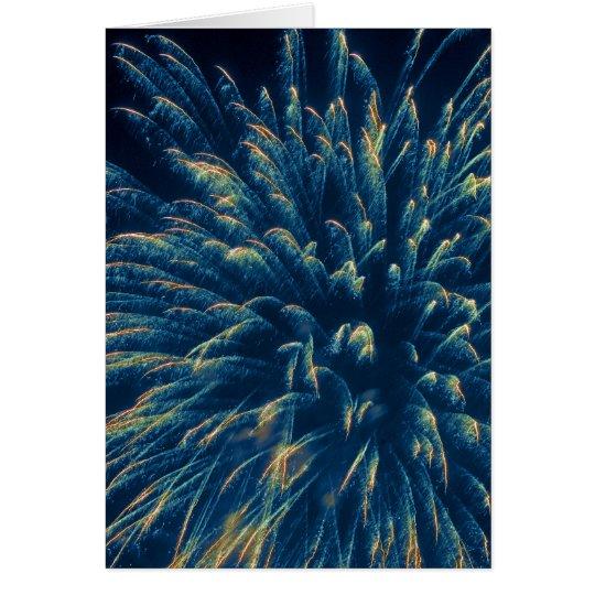 Blaue Feuerwerke (3) Grußkarte