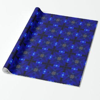 Blaue Fliesen, die Papper einwickeln Geschenkpapierrolle