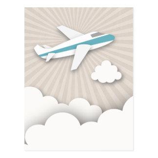 Blaue Flugzeug-Geburtstags-Party-Postkarte Postkarte