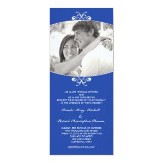 Blaue Foto-Hochzeits-Einladung 10,2 X 23,5 Cm Einladungskarte