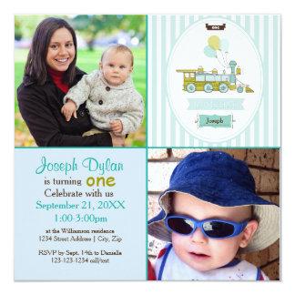 Blaue Foto-Kindergeburtstag-Einladung des Zug-2 Quadratische 13,3 Cm Einladungskarte