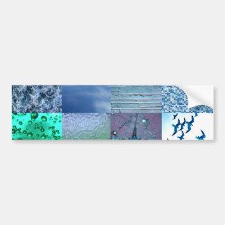 Blaue Fotografie-Collage Autoaufkleber