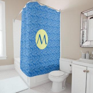 Blaue Fraktal-Art Chanukkas und gelber Kreis Duschvorhang