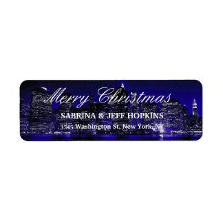 Blaue frohe Weihnacht-Mitteilungs-Familie New York Rücksende Aufkleber