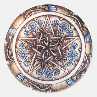 Blaue Gänseblümchen-Pentagramm Runder Aufkleber