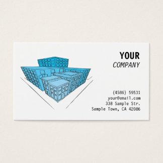 Blaue Gebäude in der Perspektive Visitenkarte