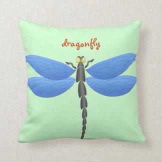 Blaue, gelbe Libellen, personalisiert Kissen