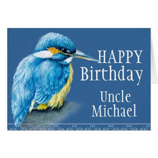Blaue gemalte Geburtstagskarte Onkelvogels schöne Grußkarte