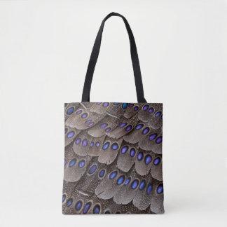 Blaue gepunktete Fasan-Feder Tasche