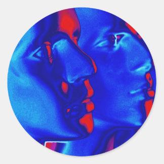 Blaue Gesichter Runder Aufkleber