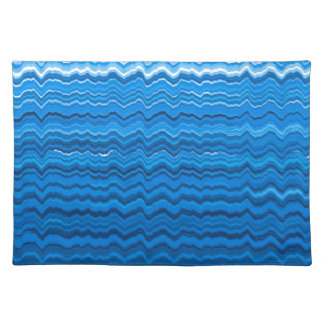 Blaue gewellte Linien Muster Stofftischset