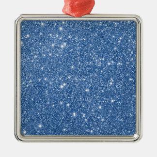 Blaue Glitter-Glitzern Silbernes Ornament