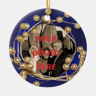 Blaue Goldball-Rahmen-Foto-Verzierung