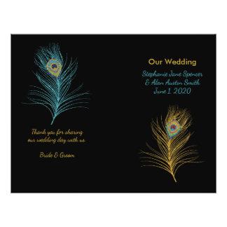 Blaue GoldGlitter-Pfau-Feder-Hochzeits-Programme 21,6 X 27,9 Cm Flyer