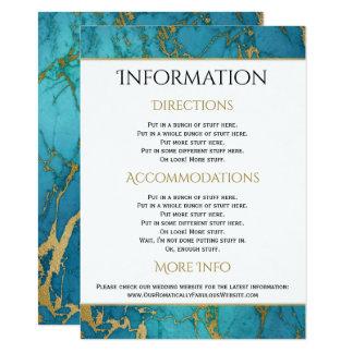 Blaue Goldmarmor-Hochzeits-Informations-Details 11,4 X 15,9 Cm Einladungskarte