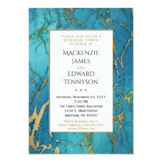 Blaue Goldmarmor-Proben-Abendessen-Einladung 12,7 X 17,8 Cm Einladungskarte