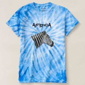 Blaue grafische Zebra-Krawatten-Unisexspitze T-shirt