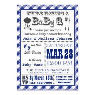 Blaue Grill BaByQ Babyparty 12,7 X 17,8 Cm Einladungskarte