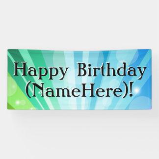 Blaue/Grün-personalisierte Geburtstags-Party-Fahne Banner