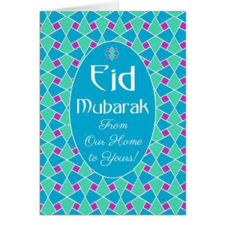 Blaue, grüne, lila Eid Karte, islamisches Muster Grußkarte