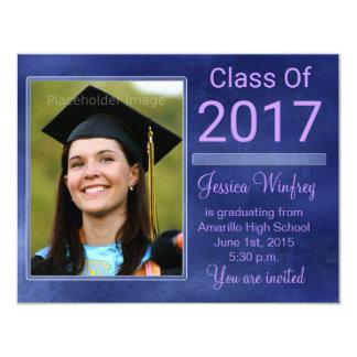 Blaue Grunge-Klasse von Abschluss-Foto 2017 10,8 X 14 Cm Einladungskarte