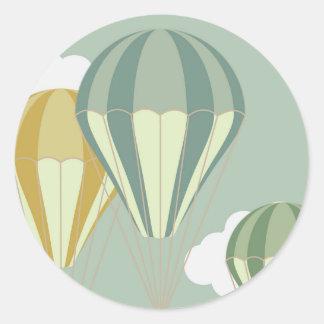 Blaue Heißluftballon stikkers Runder Aufkleber