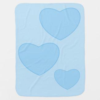 Blaue Herz-Baby-Decke Kinderwagendecke