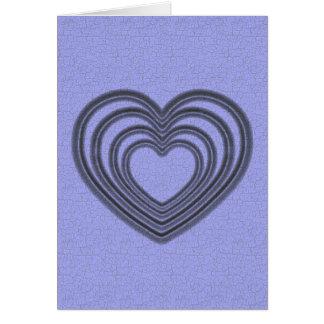 Blaue Herz-Kräuselungs-Vertikale Karte