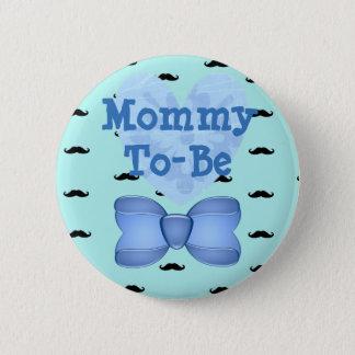 Blaue Herz-Schnurrbart-Mama, zum Babyparty-Knopf Runder Button 5,1 Cm
