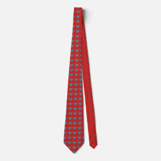 Blaue Herzen auf Rot Bedruckte Krawatten