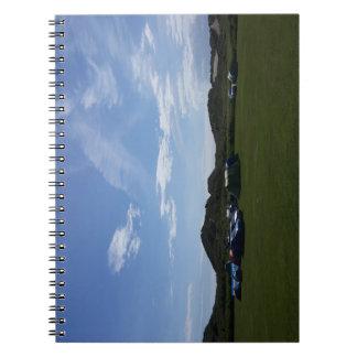Blaue Himmel über Hillend Campingplatz-Notizbuch Spiral Notizblock