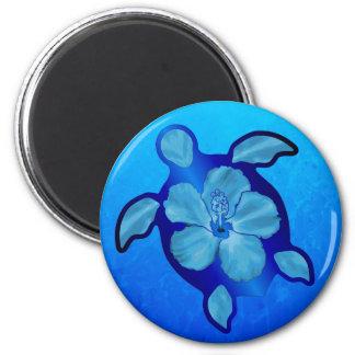 Blaue Honu Schildkröte und Hibiskus Runder Magnet 5,7 Cm