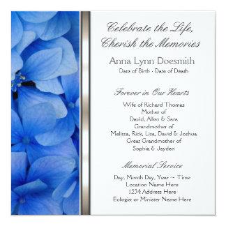 Blaue Hydrangea-Begräbnis-Mitteilungen Karte