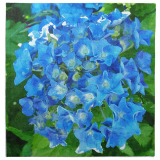 Blaue Hydrangea-Blumen. Blumenphotographie Stoffserviette