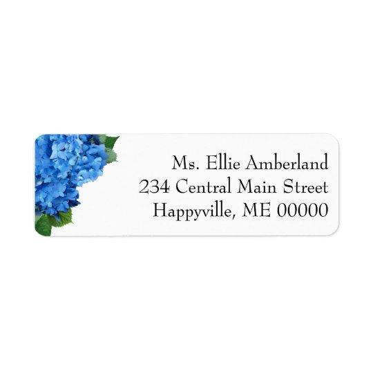 Blaue Hydrangea-Blumen-dünne Rücksendeadresse