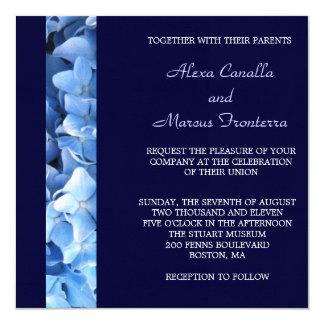 Blaue Hydrangea-Hochzeits-Einladung - doppelseitig Quadratische 13,3 Cm Einladungskarte