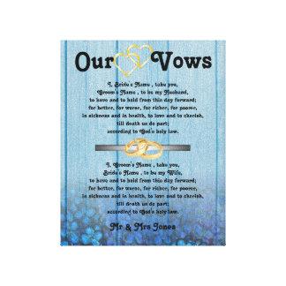 Blaue Hydrangea-Hochzeits-Versprechen auf Leinwand