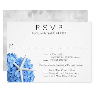 Blaue Hydrangeastarfish-Hochzeits-Menü UAWG Karte 8,9 X 12,7 Cm Einladungskarte