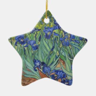 Blaue Iris Keramik Ornament