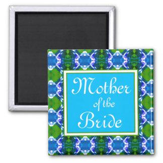 Blaue Juwel-Muster-Hochzeit Quadratischer Magnet