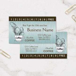 Blaue Kaffee-Lochkarten auf beiden Seiten Visitenkarte