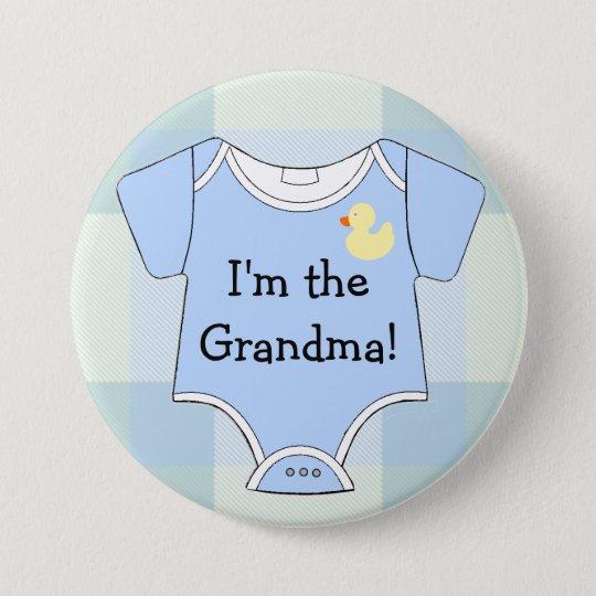 Blaue karierte Baby-Duschen-Großmutter Runder Button 7,6 Cm