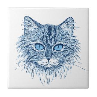 blaue Katze Kleine Quadratische Fliese