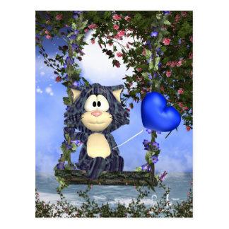 Blaue Katzen-Postkarte, niedliche Postkarte