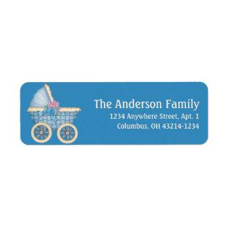 Blaue Kinderwagen Stoller d1 Adressen-Etiketten Rücksendeetikett