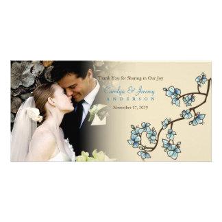 Blaue Kirschblüten-Kirschblüte-Hochzeit danken Photokarten