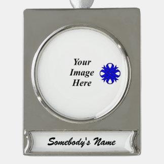 Blaue Klee-Band-Schablone Banner-Ornament Silber