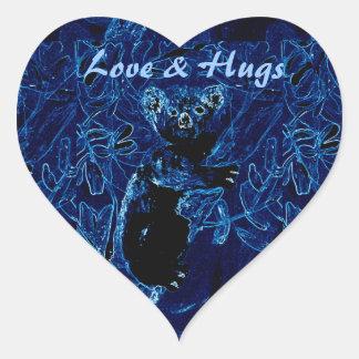 Blaue Koala-Baum-Liebe und Umarmungen Herz-Aufkleber