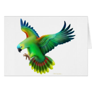 Blaue konfrontierte Amazonas-Papageien-Karte Grußkarte