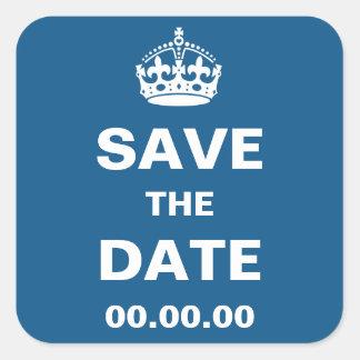 Blaue königliche Krone Save the Date Quadratischer Aufkleber